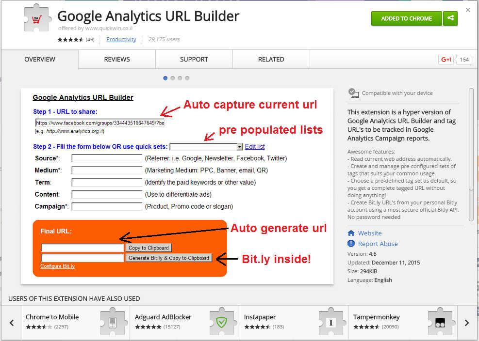 הורדת התוסף Google Analytics URL Builder לכרום